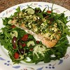 Feta and Herb Crusted Salmon  with Greek arugula salad