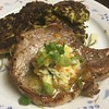 Roasted Bone-In Pork Chop with Kumquat-Cilantro Butter and edamame fritters
