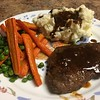 "Sunday Supper ""Pot Roast"" Steak with mashed potatoes, roasted carrots, and peas"