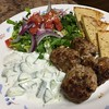 Turkey Gyro Meatball Salad with homemade tzatziki dressing and toasted pita chips