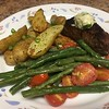 Sirloin Steak with Blue Cheese Compound Butter with green beans and roasted fingerling potatoes