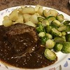 Steak with Brown Butter Bordelaise with Brussels sprouts and roasted potatoes