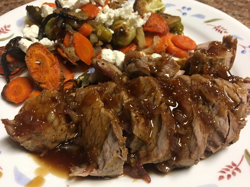 Fig-Glazed Pork Tenderloin w/ Roasted Brussel Sprouts and Carrots