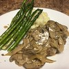 Salisbury Steak w/ Asparagus, Mashed Potatoes and Onion Mushroom Sauce