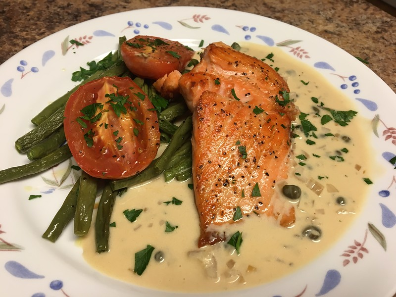 Steelhead Trout in Shallot-Butter Sauce with roasted fingerling potatoes