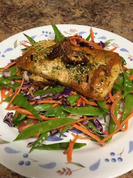 Japanese Furikake Salmon with fresh snow pea salad and ginger-miso dressing