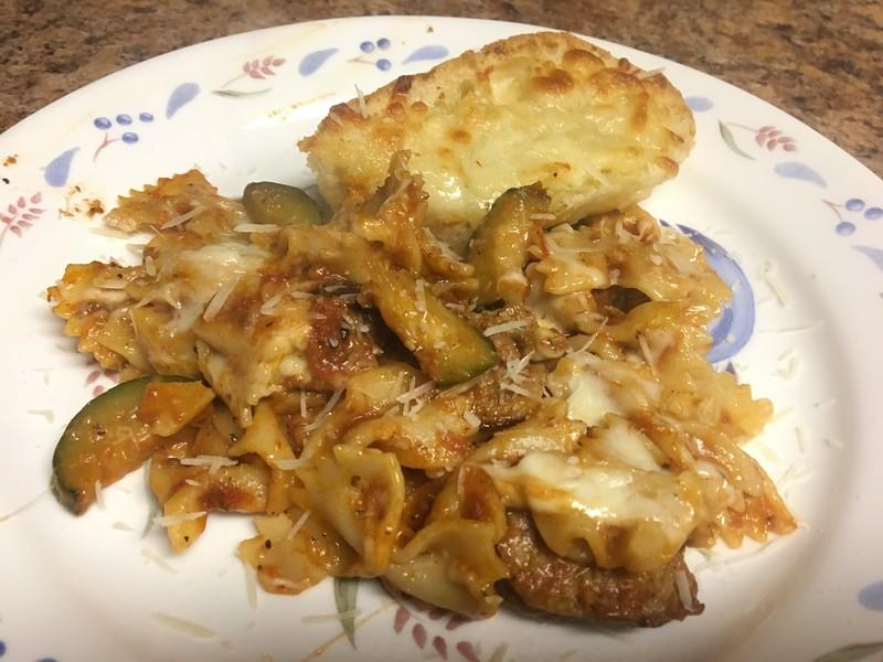 Baked Italian Sausage Farfalle with Parmesan garlic bread