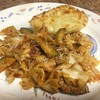 Baked Italian Sausage Farfalle with Parmesan garlic bread