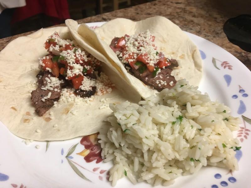 Acapulco Steak Tacos with pico de gallo and cilantro-lime rice