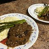 "Beef-and-Sherry ""Steak Diane""  with cremini and Dijon cream sauce, whipped potatoes, and asparagus"