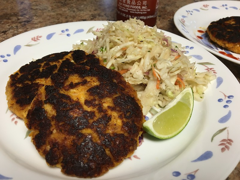 Thai Fish Cakes with cilantro-lime slaw