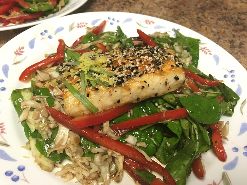 Korean Sesame and Chile Roasted Mahi-Mahi  with spinach salad