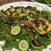 Feta and Herb Crusted Salmon  with Greek arugula salad
