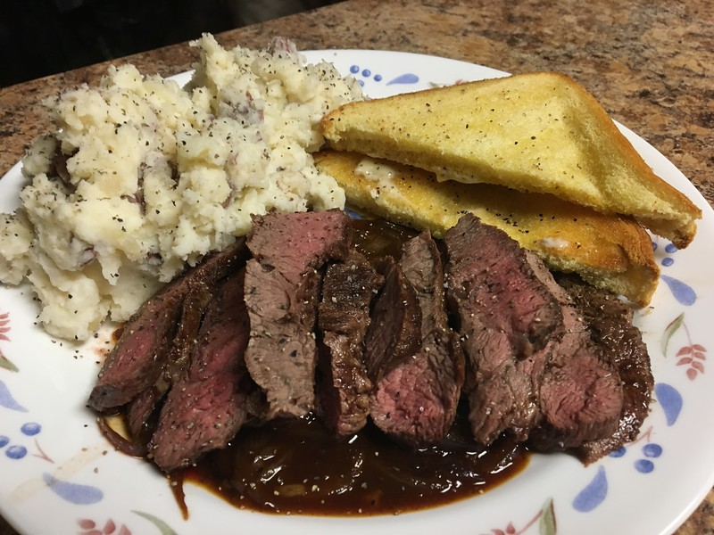 Texas-Style Steak on Toast with Red Onion Gravy with smashed red potatoes