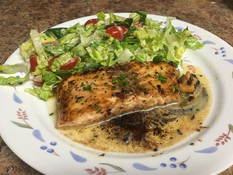 Quick Braised Salmon with Miso-Honey Ceasar Salad