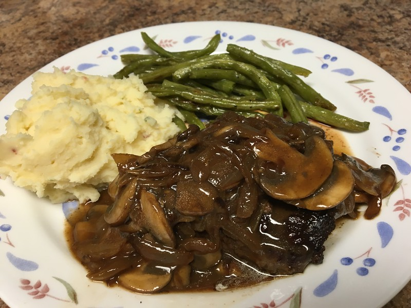 Onion and Mushroom Smothered Flat Iron Steak