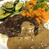 Grains of Paradise-Crusted Sirloin with mashed sweet potato