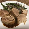 Honey Mustard-Roasted Pork Tenderloin with rosemary-roasted green beans and red onions
