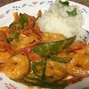 Thai Red Curry Shrimp with jasmine rice and snow peas