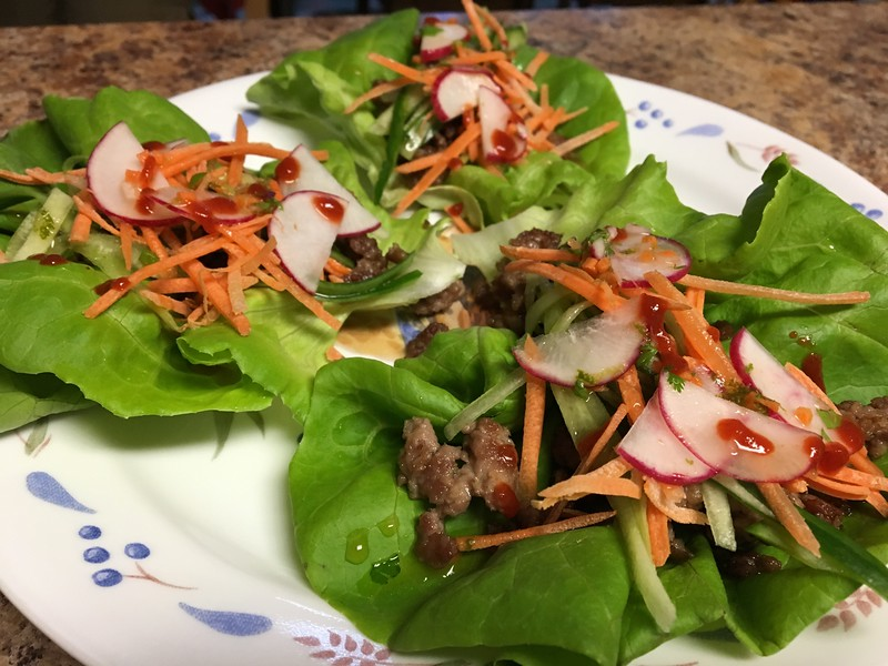 Pork Banh Mi Lettuce Wraps with Cucumbers and Carrots