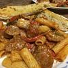 Italian Sausage & Peppers Rigatoni with Parmesan garlic bread