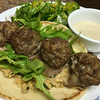 Lamb Meatball Pita with garlicky tahini sauce and minted-chickpea mash