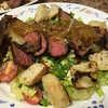 Flat Iron Steak and Bleu Cheese Salad with honey-caramelized onions and walnuts
