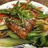 Tonkatsu Salmon with miso-ginger vegetable medley and baby bok choy