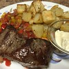 Argentine Flat Iron Steak with salsa criolla and crispy potatoes