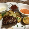 Pan-Seared Steak and Potatoes with horseradish-parsley mayo, yum yum sauce, and curry ketchup