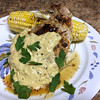 Dijon Bone-In Pork Chop with mustard cream, grilled corn, and applewood smoked sea salt butter