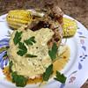 Dijon Bone-In Pork Chop with mustard cream, grilled corn, and applewood smoked sea salt butter