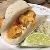 Bang Bang Shrimp Tacos with slaw and lime rice