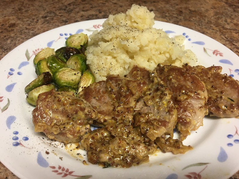Oktoberfest Pork Medallions with smashed potatoes and roasted Brussels sprouts