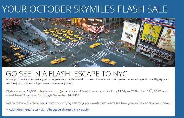 Delta SkyMiles October 2017 Flash Sale