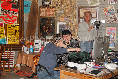 Film crew (& Kelly Chauppe in mirror) Blues Women International Recording Project I Hopson Plantation Clarksdale MS