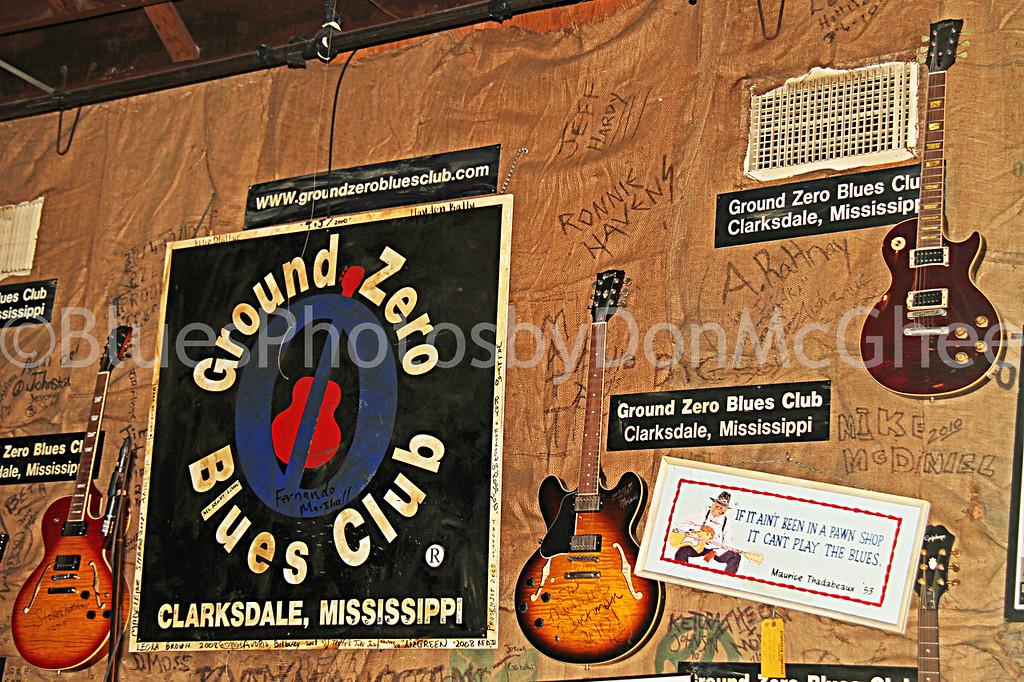Ground Zero Blues Club stage back wall<br /> Clarksdale MS
