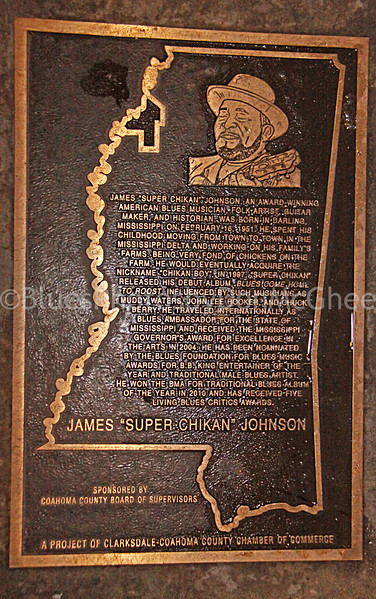 "Plaque honoring James ""SuperChikan"" Johnson in front of Ground Zero Blues Club - Clarksdale MS (click and zoom to read)"