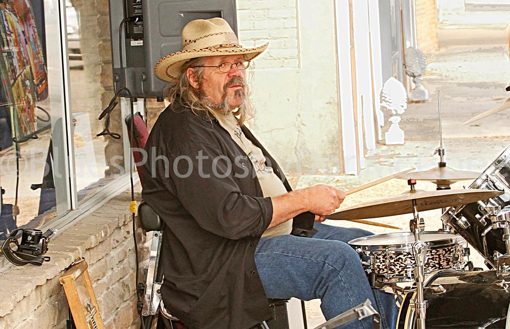 Drummer outside Rock & Blues Museum<br /> Clarksdale MS 2012