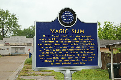 """Magic Slim"" Morris Holt Mississippi Blues Trail marker - Granada MS"