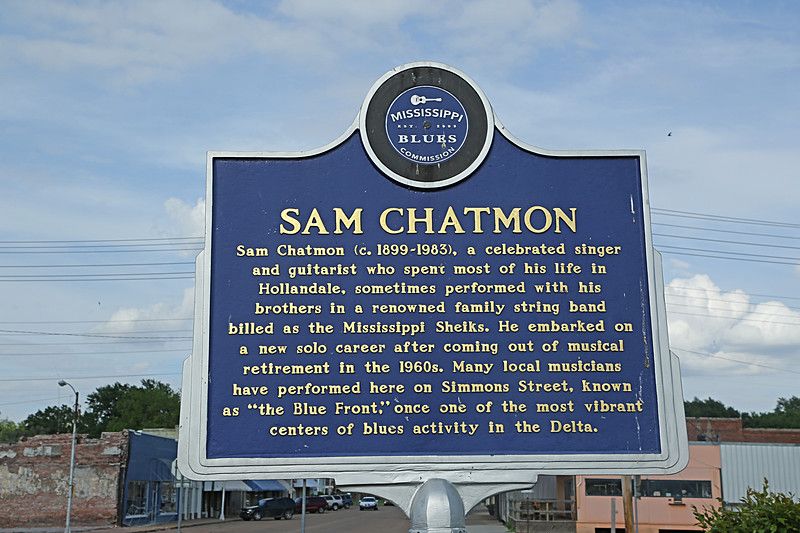 Sam Chatmon Mississippi Blues Trail marker - Hollandale MS