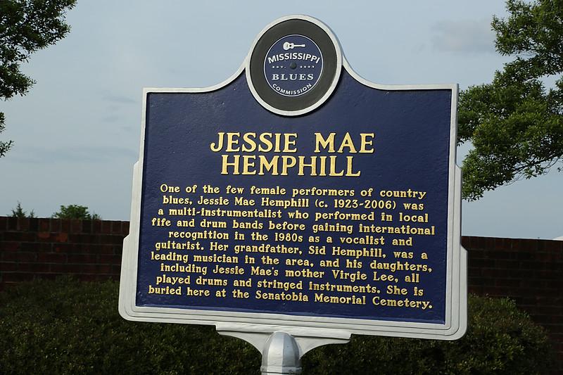 Jessie Mae Hemphill<br /> Mississippi Blues Trail Marker #125<br /> Senatobia Memorial Cemetery, Senatobia MS