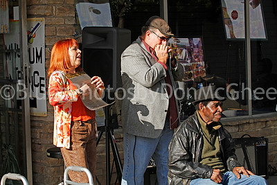 "Liz Mandeville, David Summers, James Lewis Carter ""T Model"" Ford outside Rock & Blues Museum Clarksdale MS 2012"