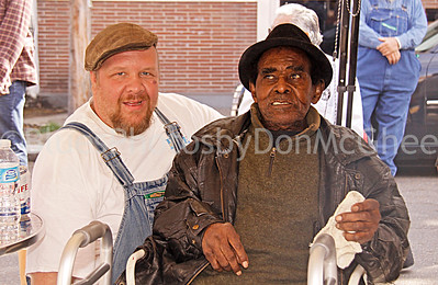 "Martin ""Big Boy"" Grant, James Lewis Carter ""T Model"" Ford in front of  Rock & Blues Museum, Clarksdale MS 2012"