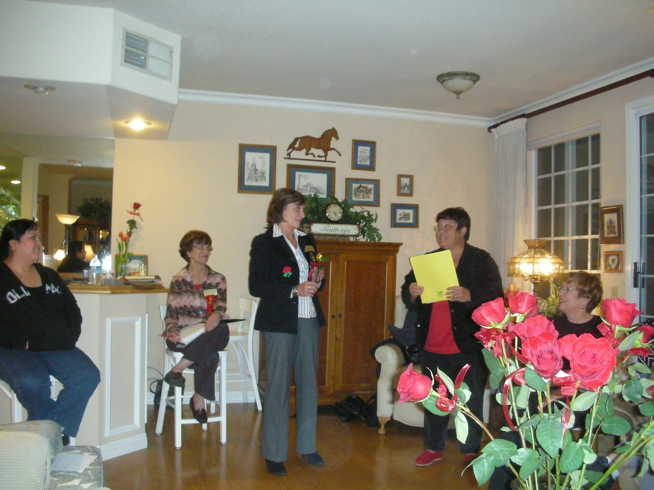 Jackie Wayman, Past President, receiving the Golden Rose Award from Gamma Zeta Chapter for outstanding service.<br /> April 2011