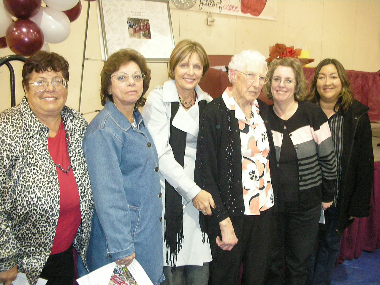 Gamma Zeta Members: Suzanne Frazer, Juanita Rivas, Jackie Wayman, Mary Lash, Karen Bowen, Irene Pritchett Romero at Paramount Unified School District Celebration of Mary Lash's 50 years in education.