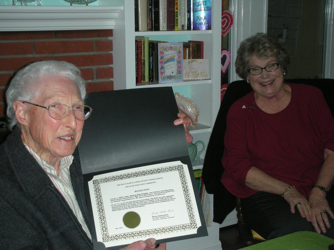 Mary Lash 50 years a member of Gamma Zeta w.  Area XII director, Julie Mendel