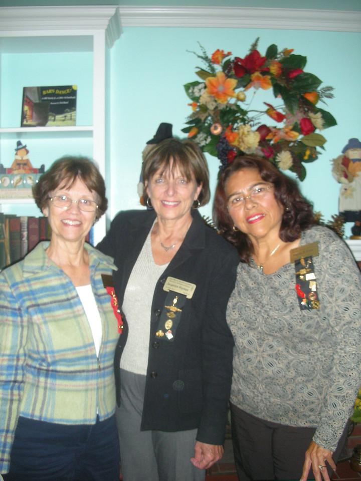 Irene Lonergan, Jackie Wayman, and Angela Loya at chapter meeting at the home of Angela Loya