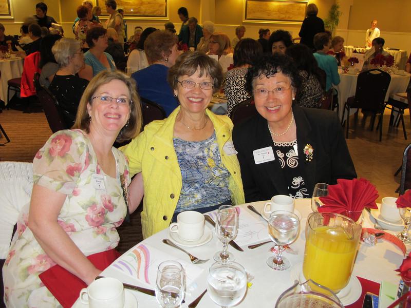 Karen Bower (treasurer), Irene Lonergan (recording secretary), Sumie Imada (scholarship chairman)
