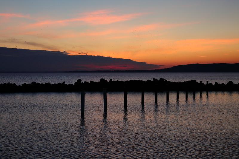 Napnyugta után a szigligeti kikötőben
